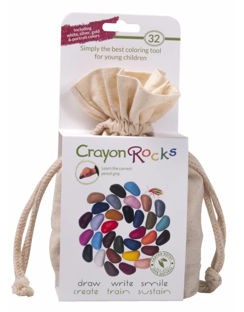 Crayon Rocks Tweeendertig (32) krijtjes van sojawas in lente, zomer, herfst en winter kleuren in een ecru katoenen zakje