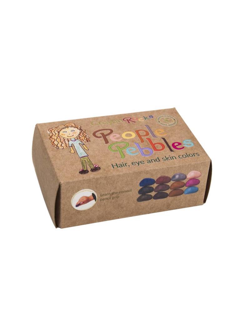 Crayon Rocks Twelve (12) People Pebbles - craft box with eye- hair- and skin colors