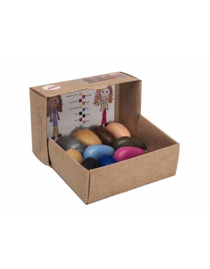 Crayon Rocks Twaalf  (12) People Pebbles - kraft doosje met haar-, oog-, en huidkleuren