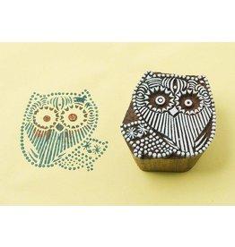 Blockwallah Block stamp Owl family