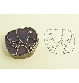 Blockwallah Block stamp  Elephant family