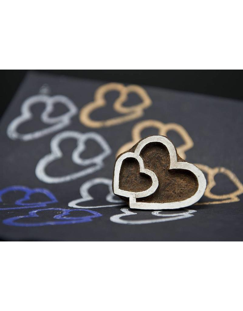 Blockwallah Blokstempel Twin hearts