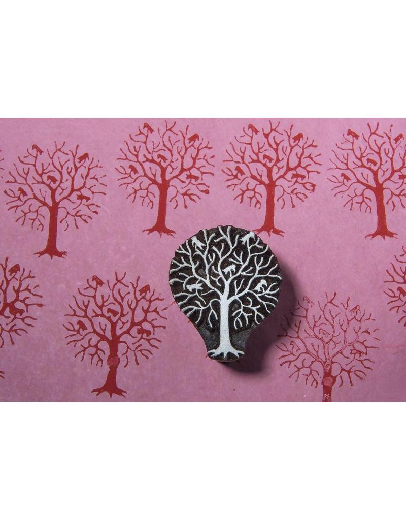 Blockwallah Blokstempel Tree with birds 014