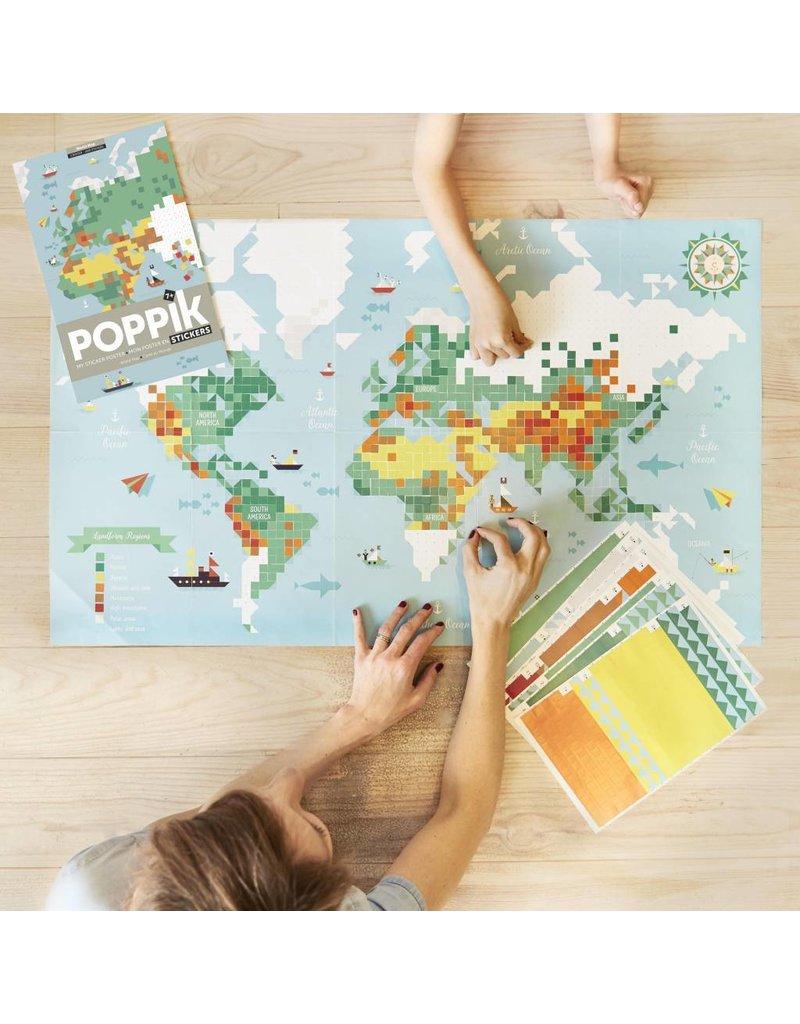 Poppik Make your own sticker poster - Wereld