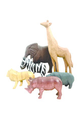 Papoose Toys Africa Wood Animals Colored/6pc