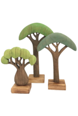 Papoose Toys Wood African Trees Colored/3pc
