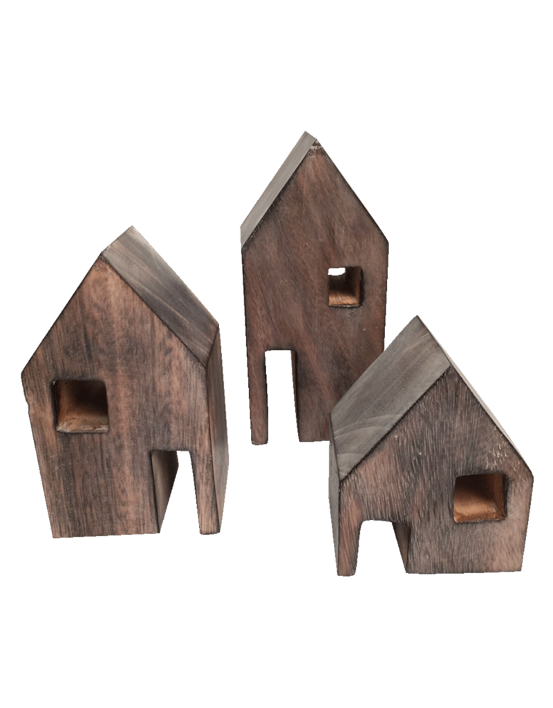 Papoose Toys Wood block houses / 3 pcs