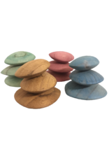 Papoose Toys Earth wood pebbles / 12 pcs
