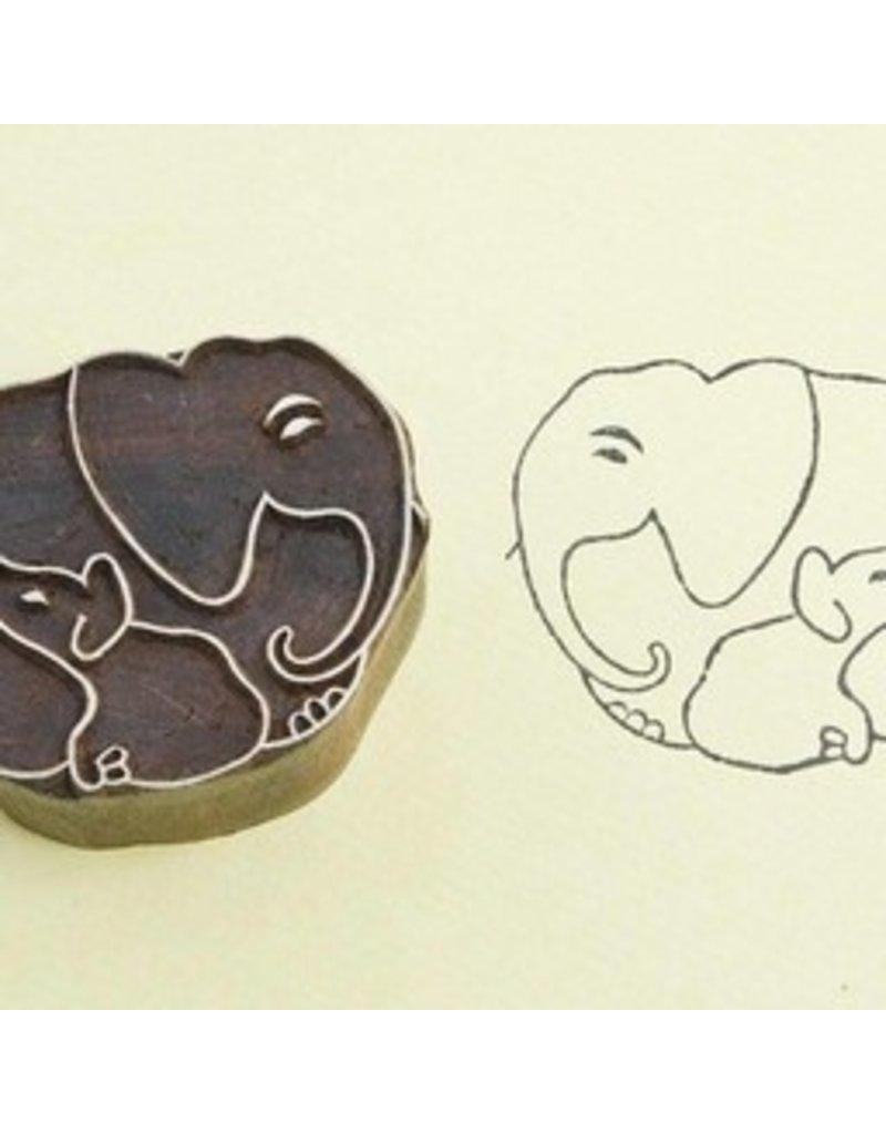 Blockwallah Block stamp elephant family small