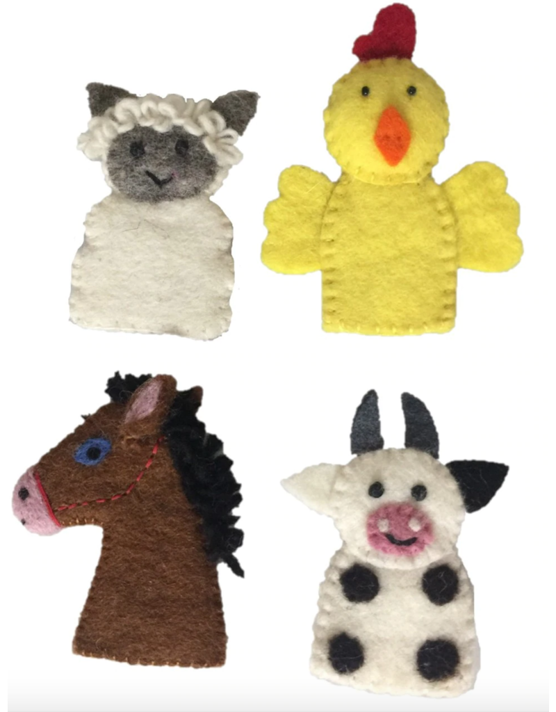 Papoose Toys Farm animal finger puppets 4 pcs