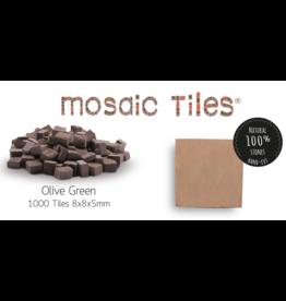 Neptune Mosaic Pot met 1000 olijfgroene mozaieksteentjes