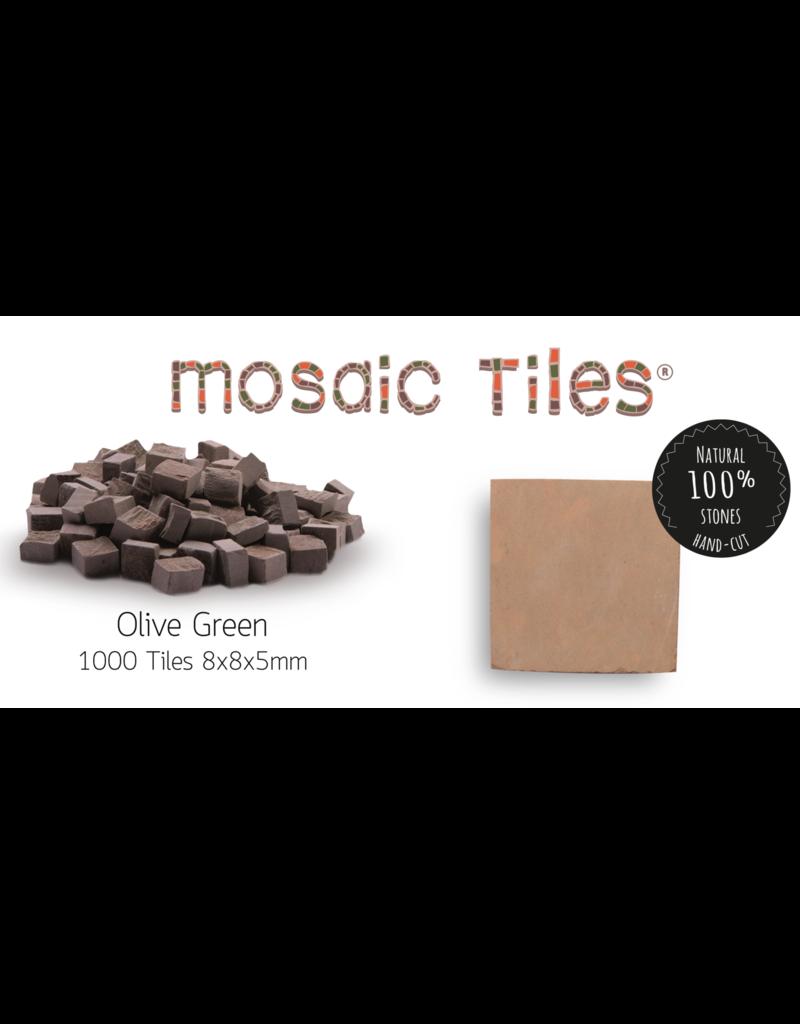 Neptune Mosaic Pot met 1000 olijfgroene mozaieksteentjes 900 gram/0,5 l