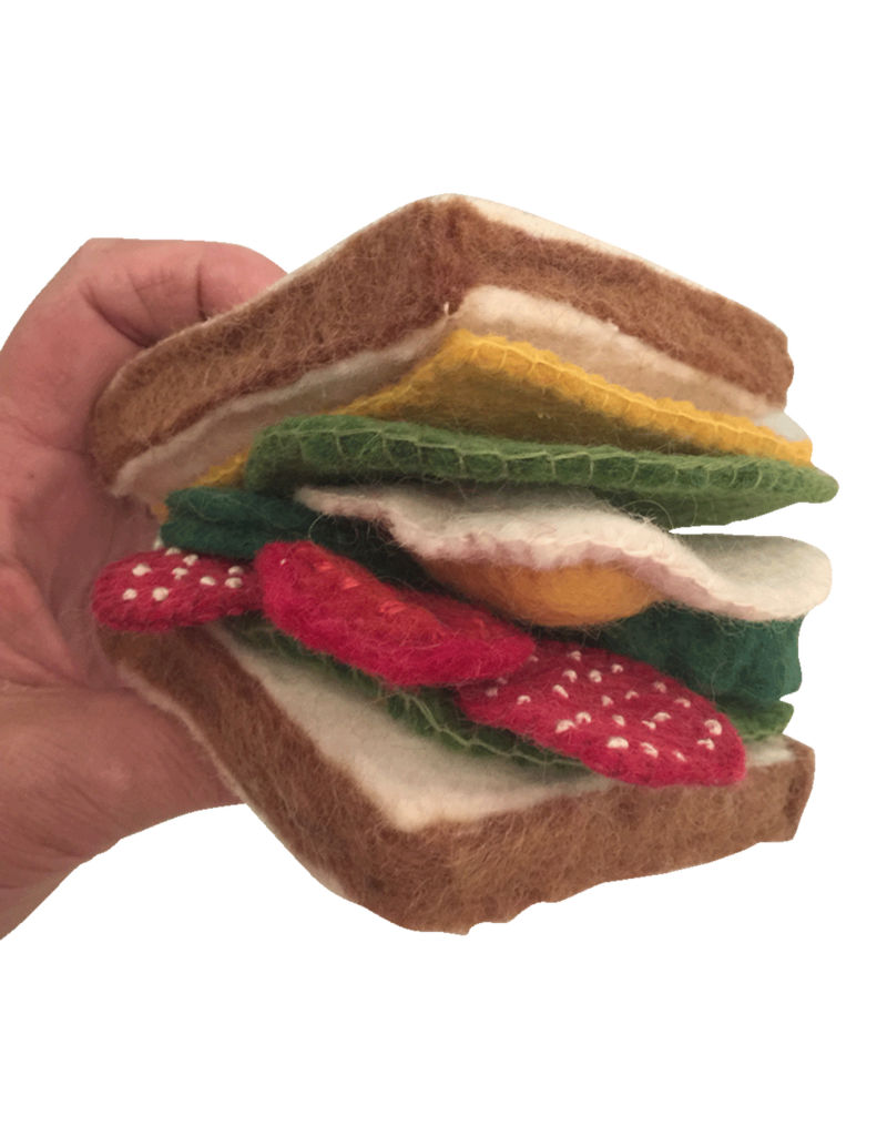 Papoose Toys Felt food sandwich with toppings