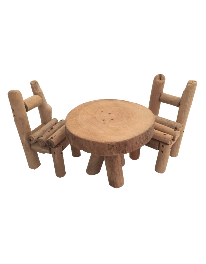 Papoose Toys Woodland Furniture/ 2chairs+ 1 table