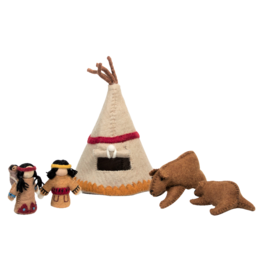 Papoose Toys Indian village set small / 5 pcs