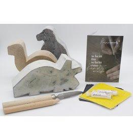 Kunstwerk Speksteenset Dinosaurus