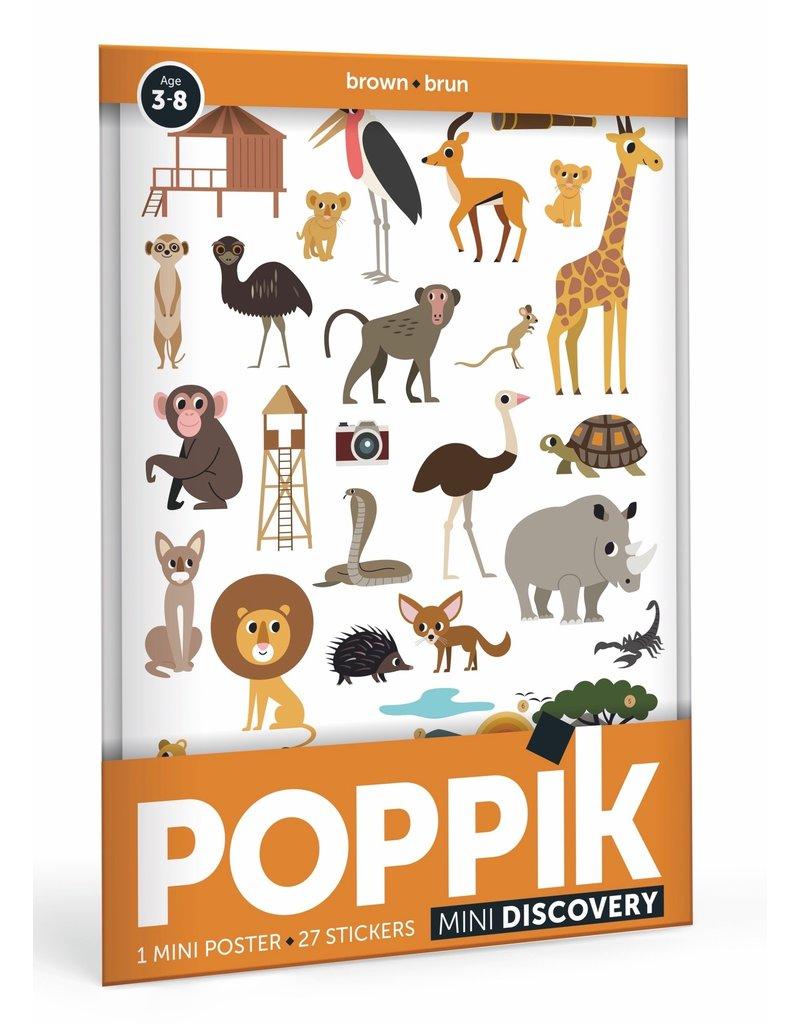 Poppik Poppik stickerposter mini bruin - thema savanne