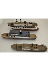 Papoose Toys Wooden boats - set 3 pcs