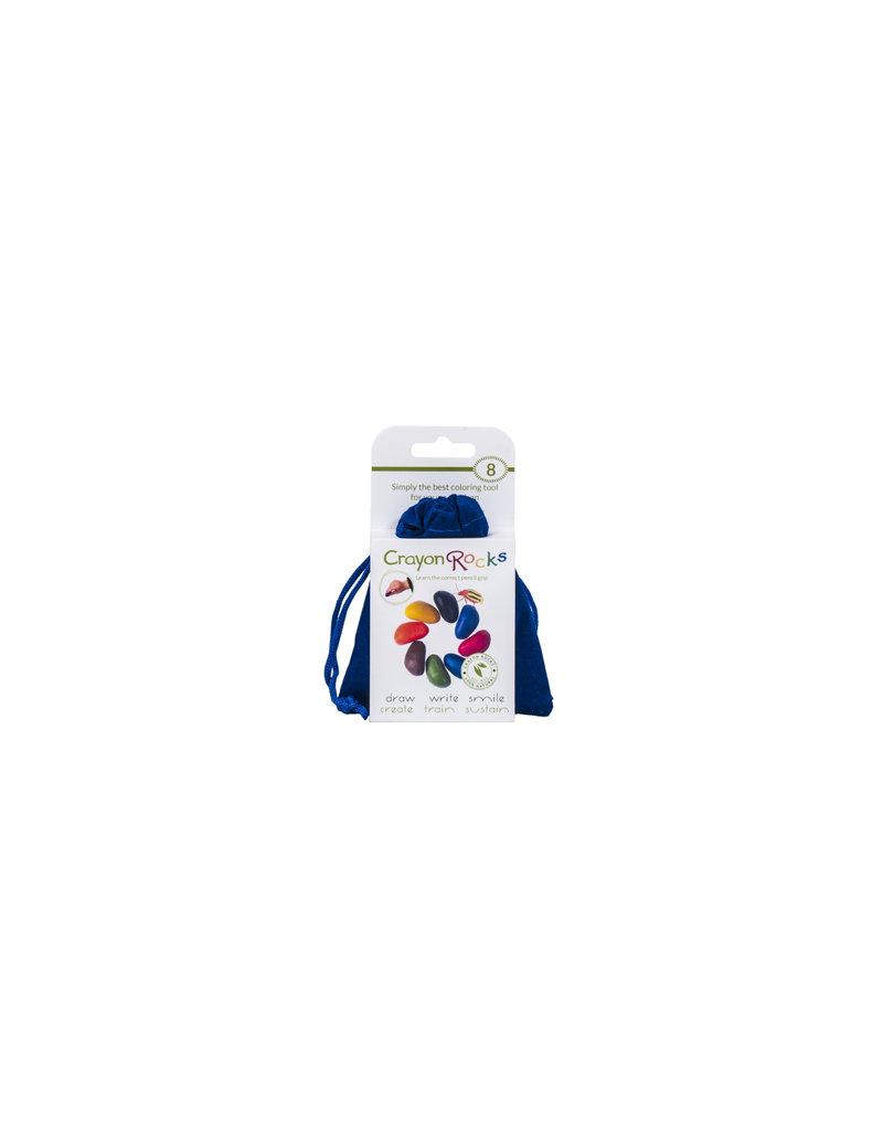 Crayon Rocks Acht (8) krijtjes van sojawas in primaire kleuren in een blauw fluwelen zakje