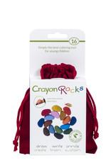 Crayon Rocks Zestien (16) krijtjes van sojawas in zomer en lente kleuren in een rood fluwelen zakje