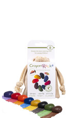 Crayon Rocks Acht (8) krijtjes van sojawas in primaire kleuren in een ecru katoenen zakje