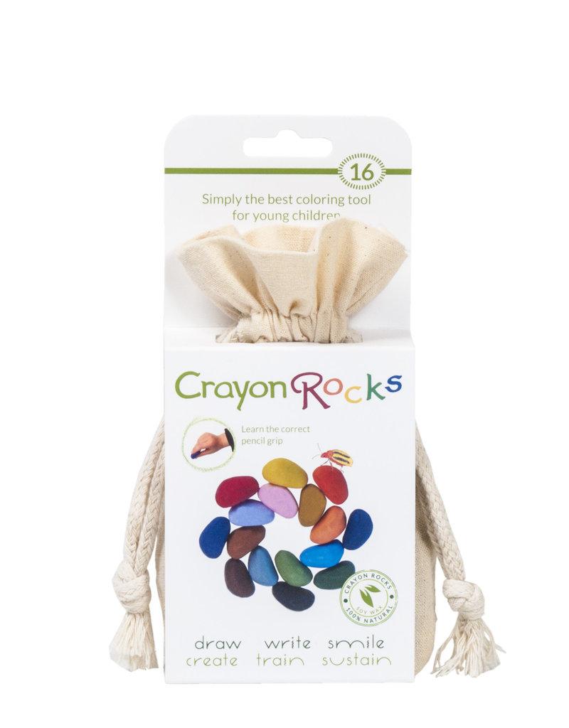 Crayon Rocks Zestien (16) krijtjes van sojawas in zomer en lente kleuren in een ecru katoenen zakje