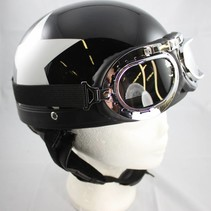 Retro, black half helmet white star | outlet