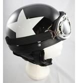 Retro zwarte pothelm witte ster | outlet