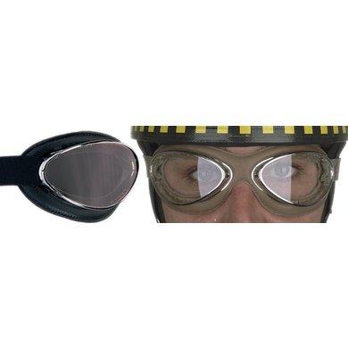 Aviator Goggle retro cuir mask chrome, zwart leren vliegeniersbril