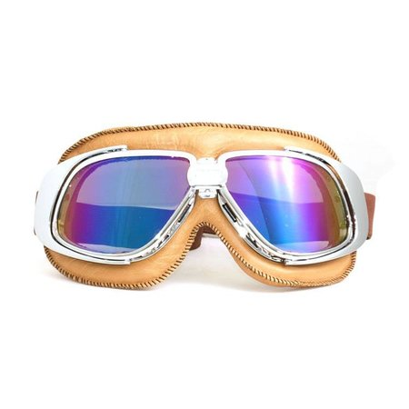 Chrome, camel leather motor goggles