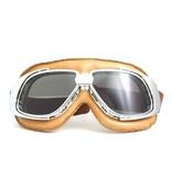 CRG chrome, camel leather motor goggles