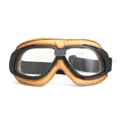 CRG retro, camel leren motorbril