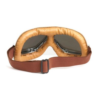 CRG chrome, camel leather motor goggles
