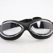 retro cuir mask chrome, zwart leren motorbril