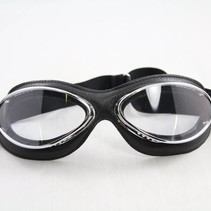 retro cuir mask chrome, zwart leren vliegeniersbril