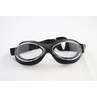 Aviator Goggle retro cuir mask chrome, black leather leather motor goggles