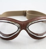 Aviator Goggle retro cuir mask chrome, brown leather goggles