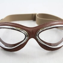 retro cuir mask chrome, bruin leren vliegeniersbril