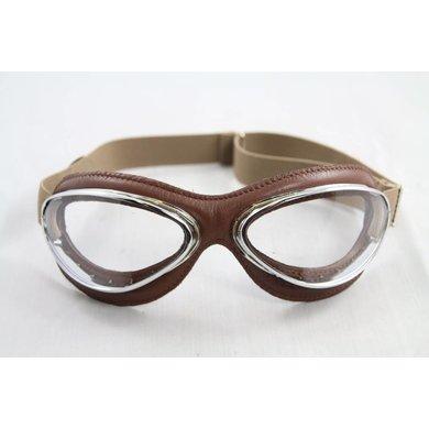 Aviator Goggle retro cuir mask chrome, bruin leren vliegeniersbril