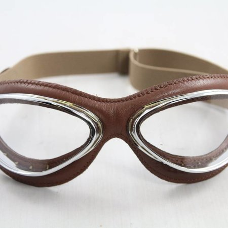 Aviator Goggle retro cuir mask chrome, brown leather motor goggles