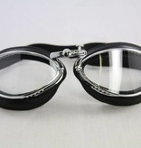 Aviator Goggle retro cuir chrome, black leather leather motor goggles