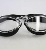 Aviator Goggle retro cuir chrome, zwart leren motorbril