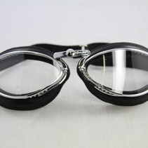 retro cuir chrome, black leather leather motor goggles