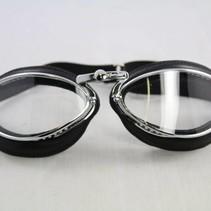 retro cuir chrome, zwart leren vliegeniersbril