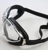 Aviator Goggle retro cuir chrome, zwart leren vliegeniersbril