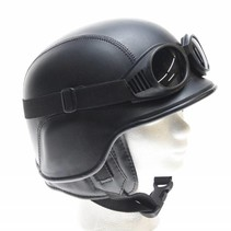 Black leather army chopper helmet