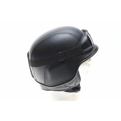 Black leather army chopper helmet