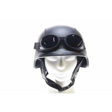 Zwart leren army chopper helm