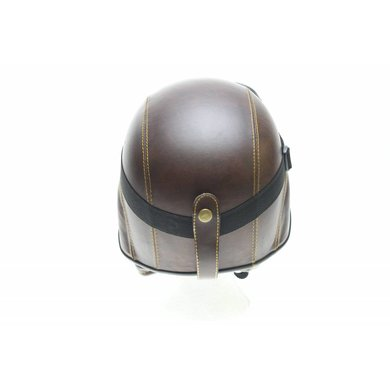 Brown leather army chopper helmet