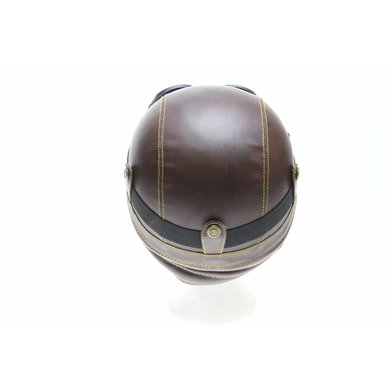 Retro brown leather half helmet